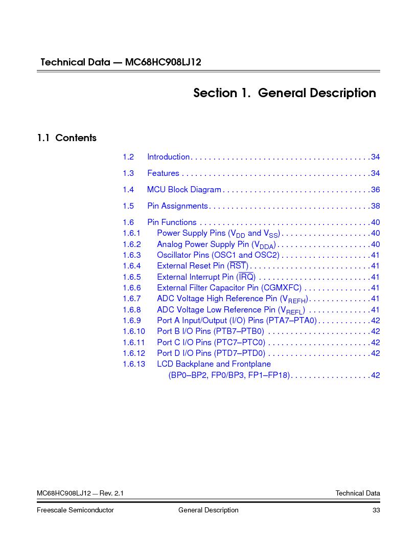 MC908LJ12CFUE ,Freescale Semiconductor厂商,IC MCU 12K FLASH 4/8MHZ 64-QFP, MC908LJ12CFUE datasheet预览  第33页