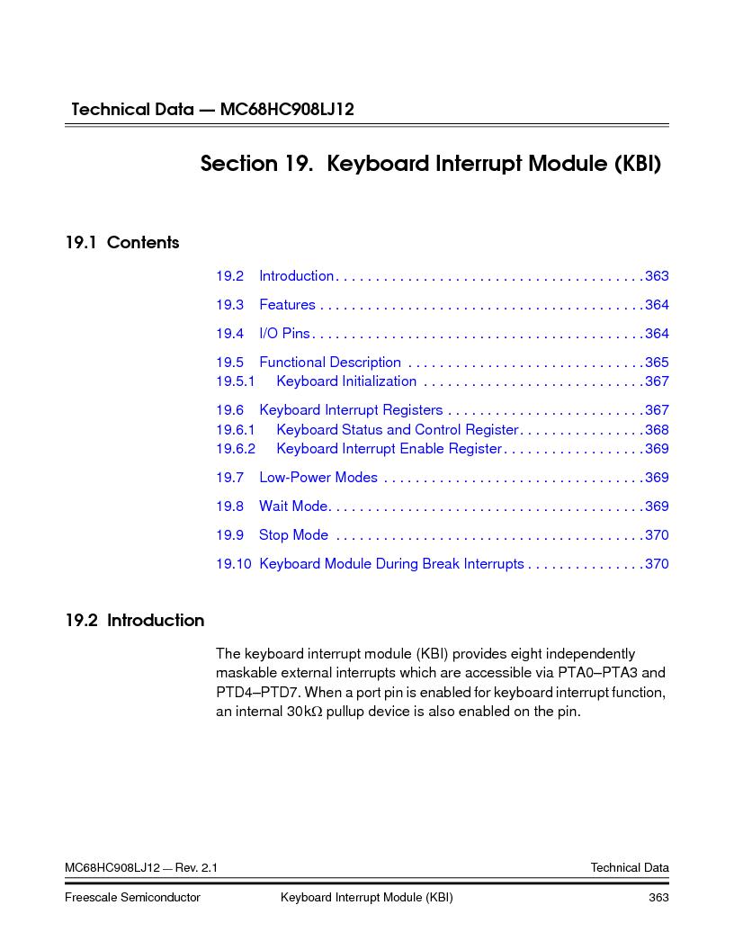 MC908LJ12CFUE ,Freescale Semiconductor厂商,IC MCU 12K FLASH 4/8MHZ 64-QFP, MC908LJ12CFUE datasheet预览  第363页