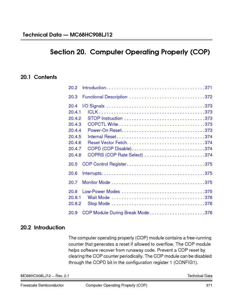 MC908LJ12CFUE ,Freescale Semiconductor厂商,IC MCU 12K FLASH 4/8MHZ 64-QFP, MC908LJ12CFUE datasheet预览  第371页