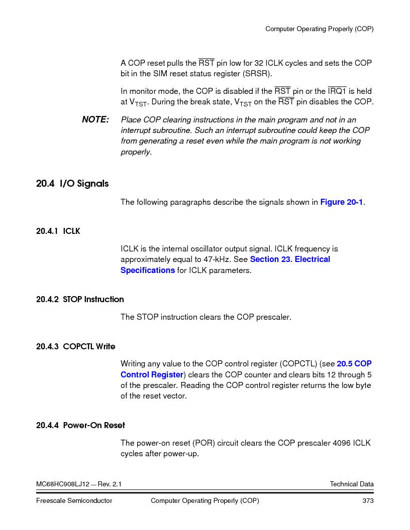 MC908LJ12CFUE ,Freescale Semiconductor厂商,IC MCU 12K FLASH 4/8MHZ 64-QFP, MC908LJ12CFUE datasheet预览  第373页