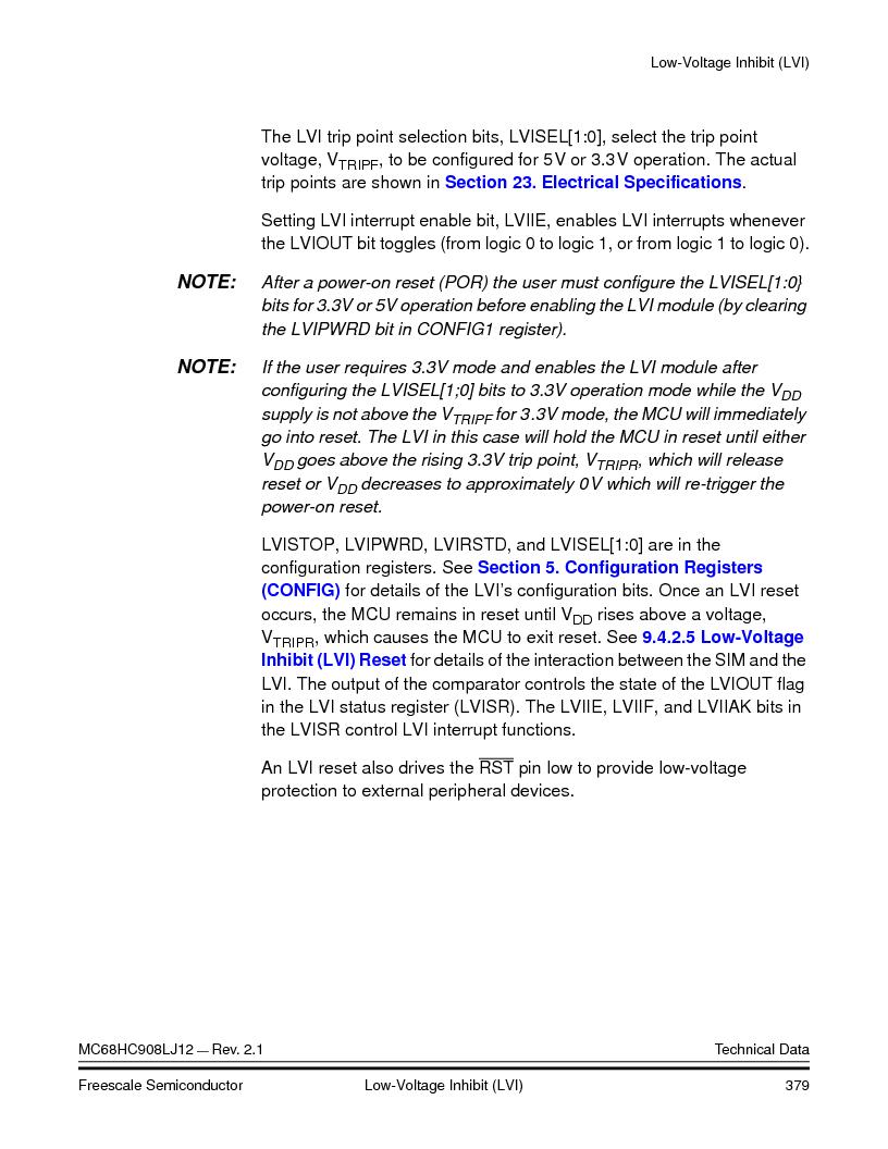 MC908LJ12CFUE ,Freescale Semiconductor厂商,IC MCU 12K FLASH 4/8MHZ 64-QFP, MC908LJ12CFUE datasheet预览  第379页