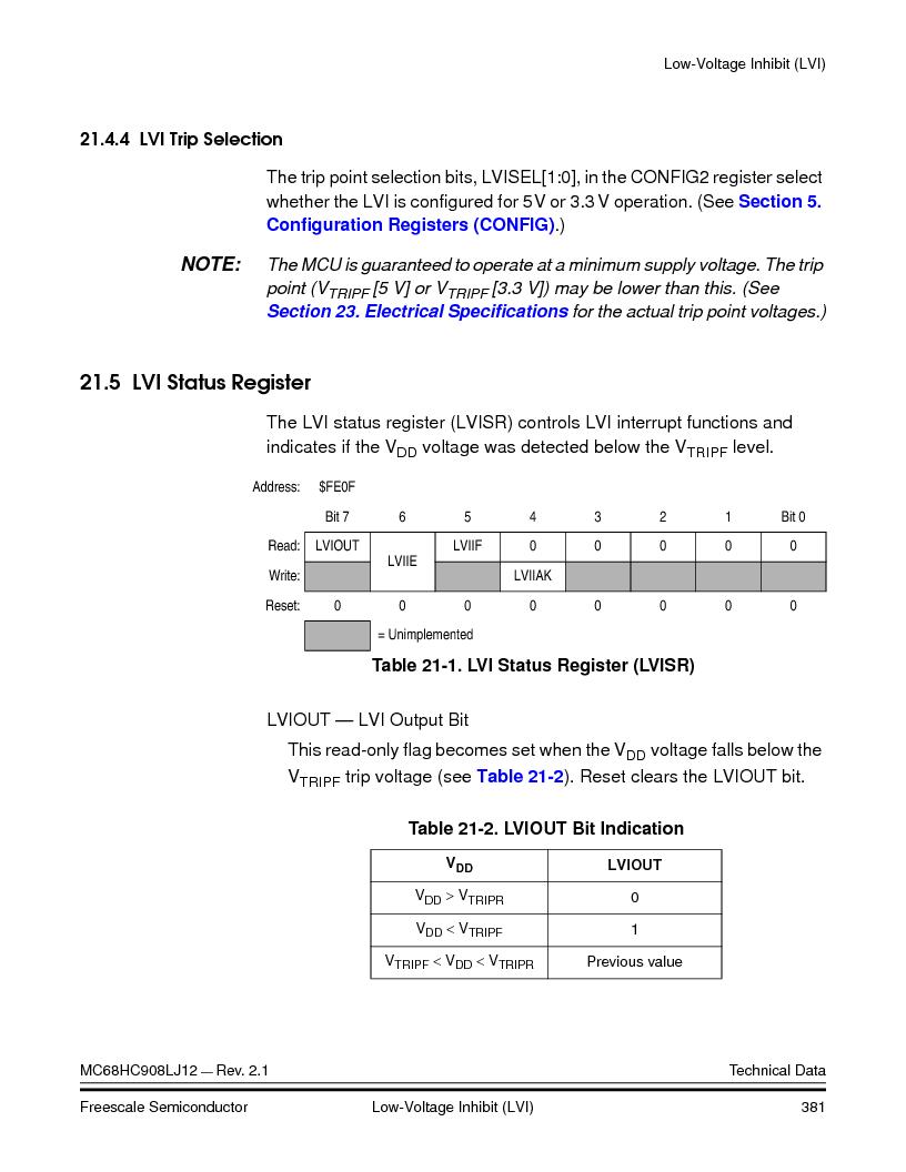 MC908LJ12CFUE ,Freescale Semiconductor厂商,IC MCU 12K FLASH 4/8MHZ 64-QFP, MC908LJ12CFUE datasheet预览  第381页