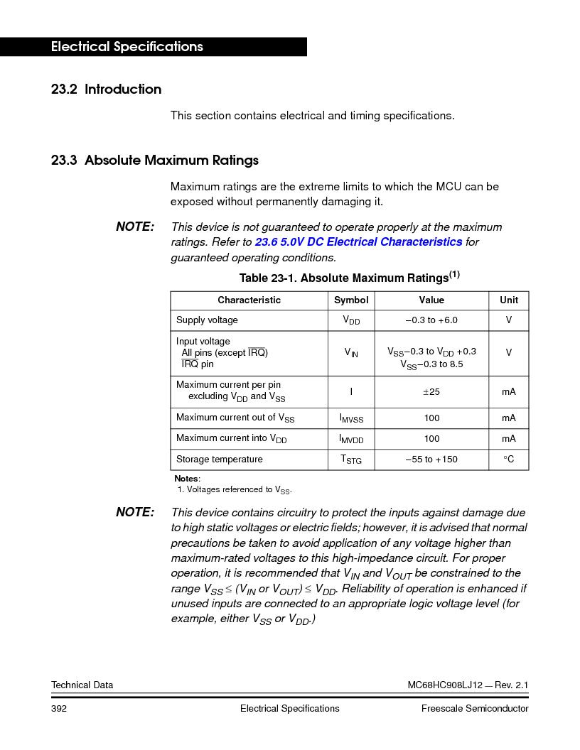 MC908LJ12CFUE ,Freescale Semiconductor厂商,IC MCU 12K FLASH 4/8MHZ 64-QFP, MC908LJ12CFUE datasheet预览  第392页