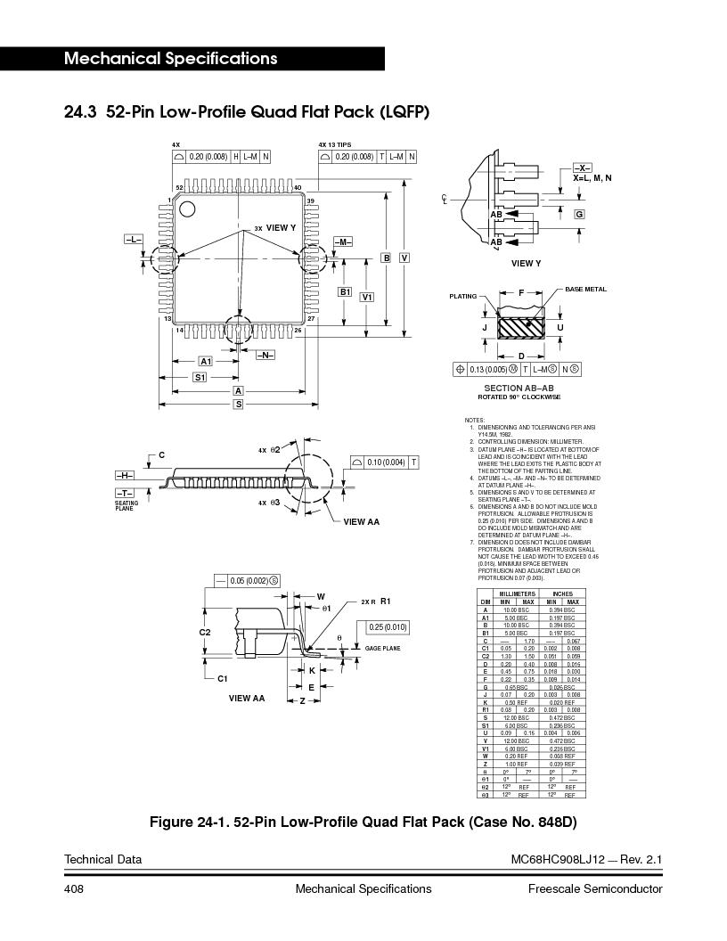 MC908LJ12CFUE ,Freescale Semiconductor厂商,IC MCU 12K FLASH 4/8MHZ 64-QFP, MC908LJ12CFUE datasheet预览  第408页