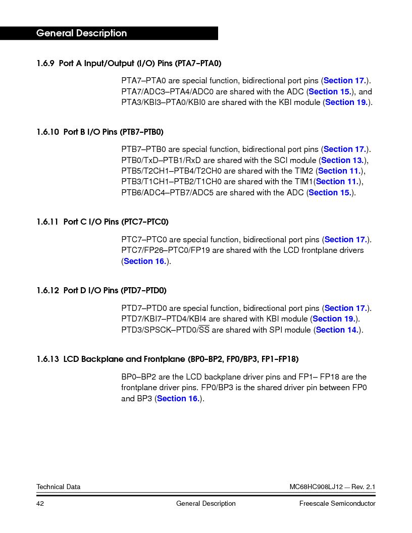 MC908LJ12CFUE ,Freescale Semiconductor厂商,IC MCU 12K FLASH 4/8MHZ 64-QFP, MC908LJ12CFUE datasheet预览  第42页
