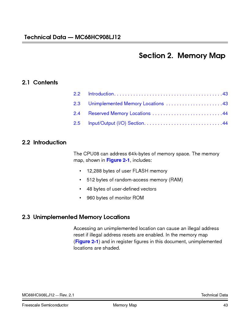 MC908LJ12CFUE ,Freescale Semiconductor厂商,IC MCU 12K FLASH 4/8MHZ 64-QFP, MC908LJ12CFUE datasheet预览  第43页