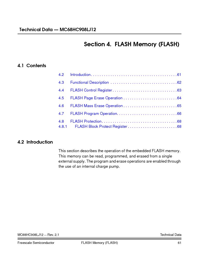 MC908LJ12CFUE ,Freescale Semiconductor厂商,IC MCU 12K FLASH 4/8MHZ 64-QFP, MC908LJ12CFUE datasheet预览  第61页
