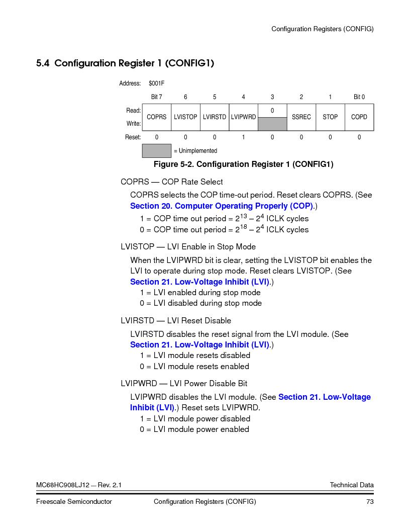 MC908LJ12CFUE ,Freescale Semiconductor厂商,IC MCU 12K FLASH 4/8MHZ 64-QFP, MC908LJ12CFUE datasheet预览  第73页