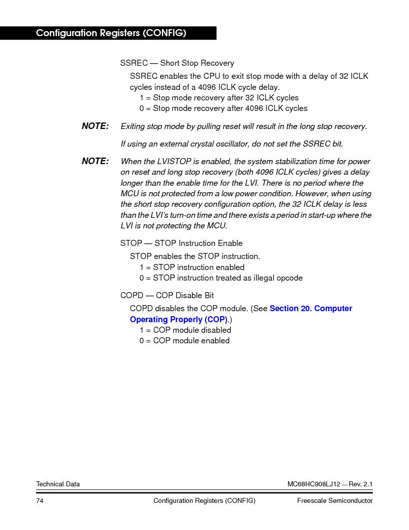 MC908LJ12CFUE ,Freescale Semiconductor厂商,IC MCU 12K FLASH 4/8MHZ 64-QFP, MC908LJ12CFUE datasheet预览  第74页