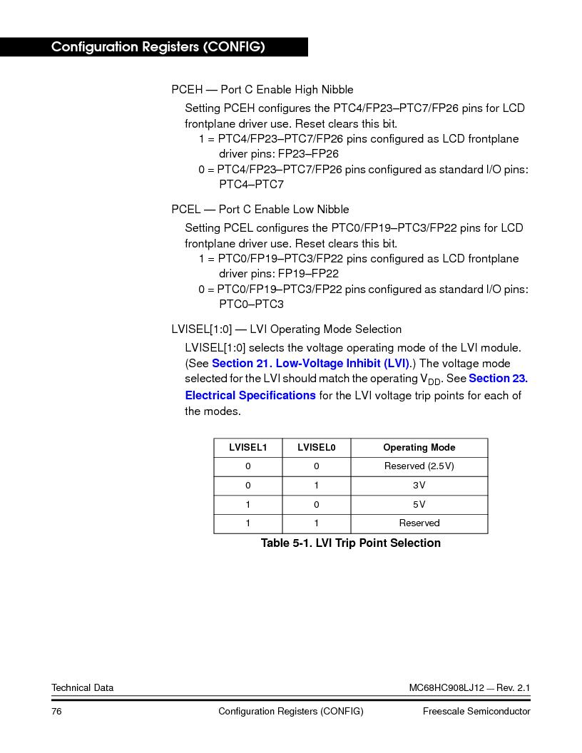 MC908LJ12CFUE ,Freescale Semiconductor厂商,IC MCU 12K FLASH 4/8MHZ 64-QFP, MC908LJ12CFUE datasheet预览  第76页