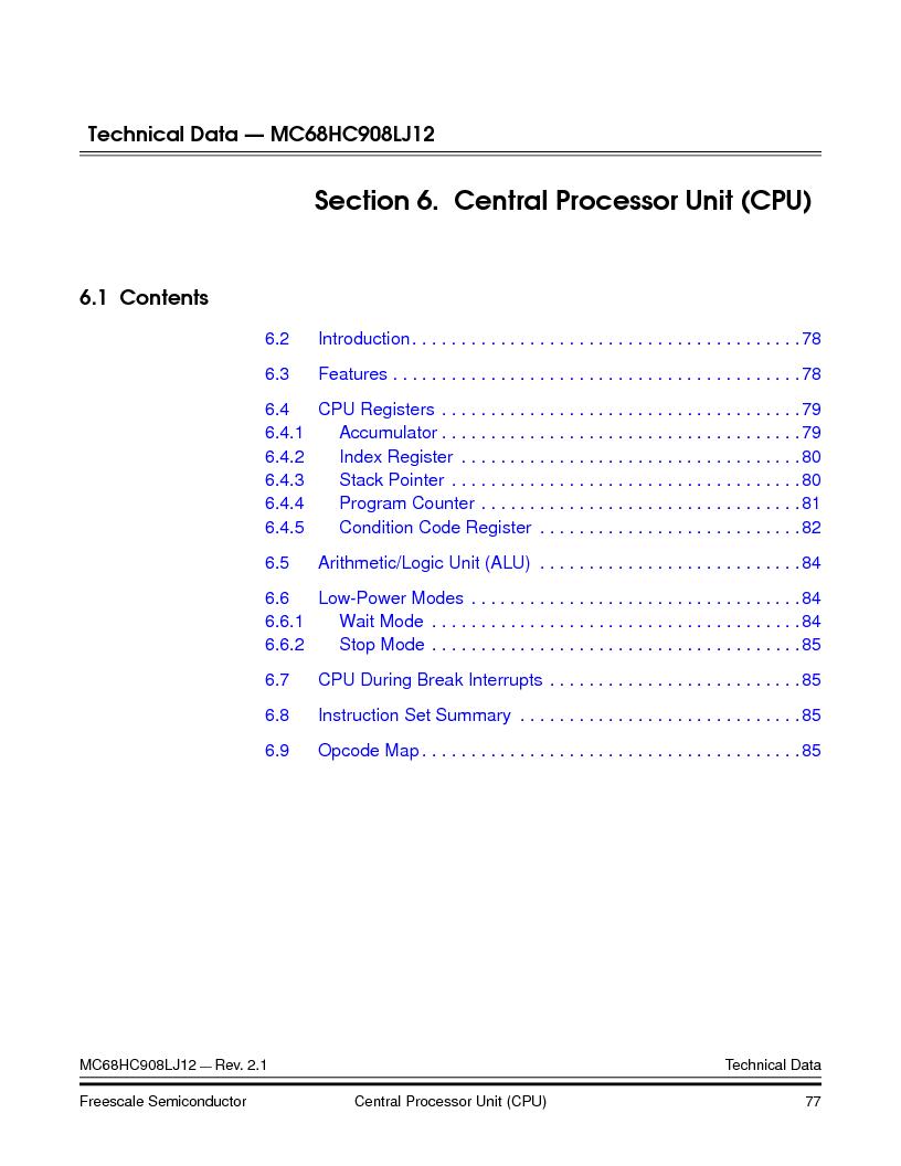 MC908LJ12CFUE ,Freescale Semiconductor厂商,IC MCU 12K FLASH 4/8MHZ 64-QFP, MC908LJ12CFUE datasheet预览  第77页