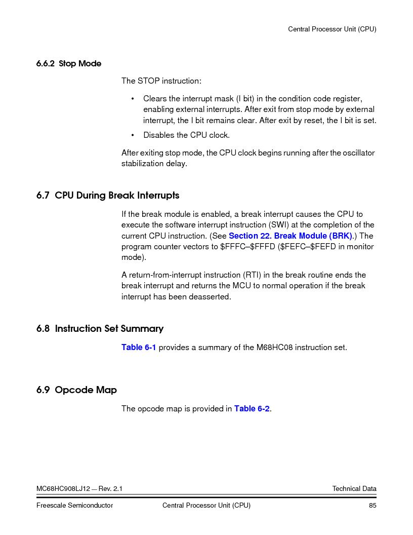 MC908LJ12CFUE ,Freescale Semiconductor厂商,IC MCU 12K FLASH 4/8MHZ 64-QFP, MC908LJ12CFUE datasheet预览  第85页