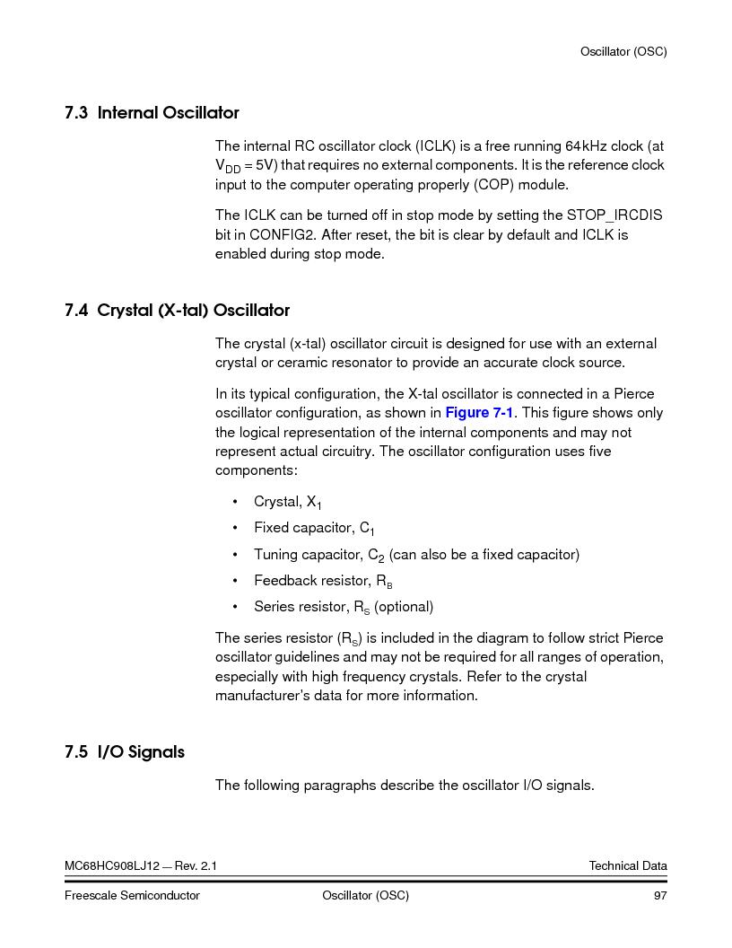 MC908LJ12CFUE ,Freescale Semiconductor厂商,IC MCU 12K FLASH 4/8MHZ 64-QFP, MC908LJ12CFUE datasheet预览  第97页