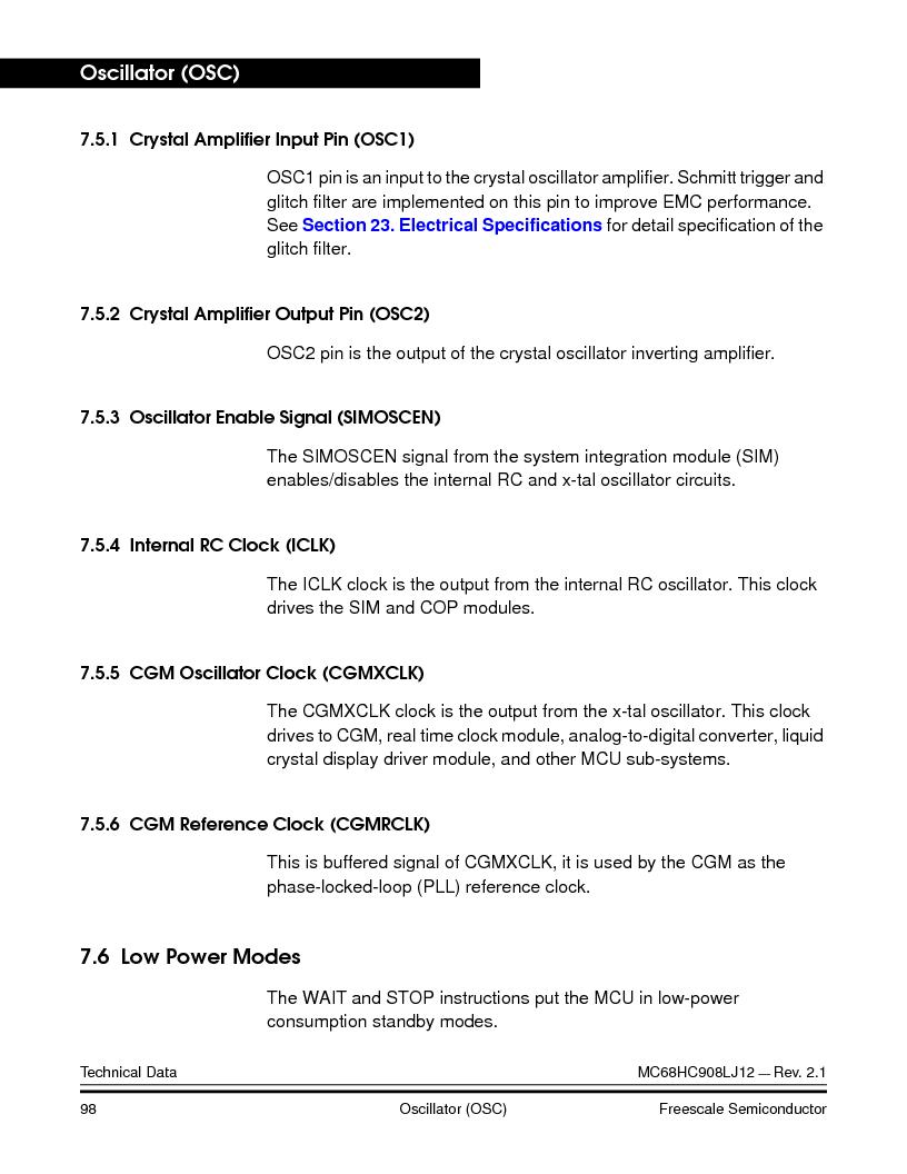 MC908LJ12CFUE ,Freescale Semiconductor厂商,IC MCU 12K FLASH 4/8MHZ 64-QFP, MC908LJ12CFUE datasheet预览  第98页