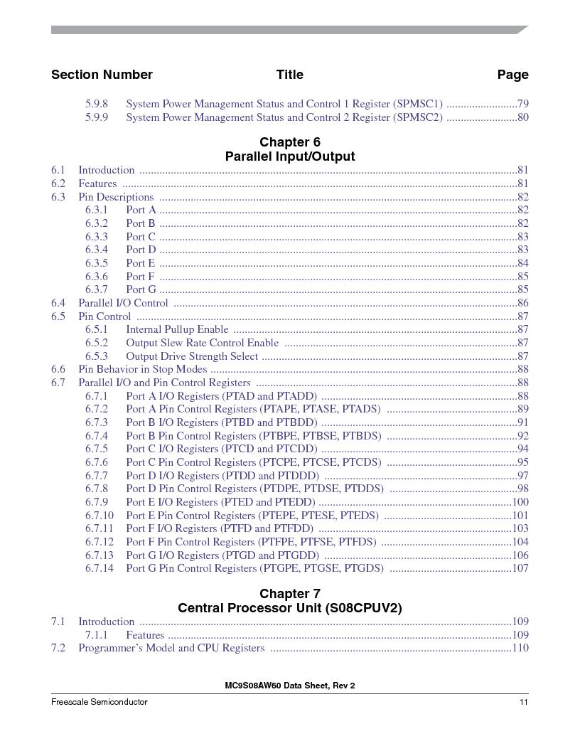 MC9S08AW16MFDE ,Freescale Semiconductor厂商,IC MCU 8BIT 16K FLASH 48-QFN, MC9S08AW16MFDE datasheet预览  第11页
