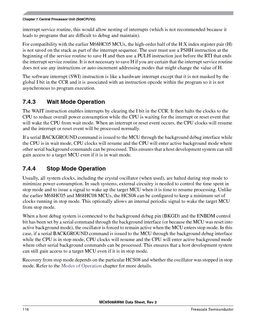 MC9S08AW16MFDE ,Freescale Semiconductor厂商,IC MCU 8BIT 16K FLASH 48-QFN, MC9S08AW16MFDE datasheet预览  第116页
