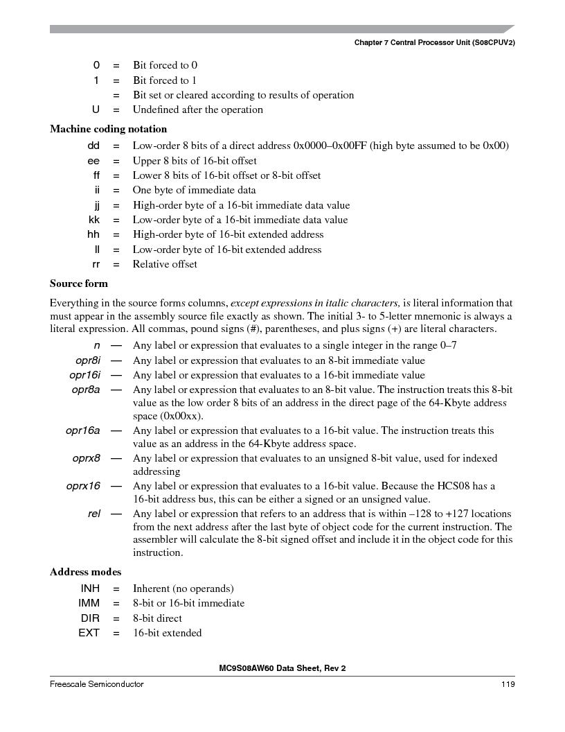 MC9S08AW16MFDE ,Freescale Semiconductor厂商,IC MCU 8BIT 16K FLASH 48-QFN, MC9S08AW16MFDE datasheet预览  第119页