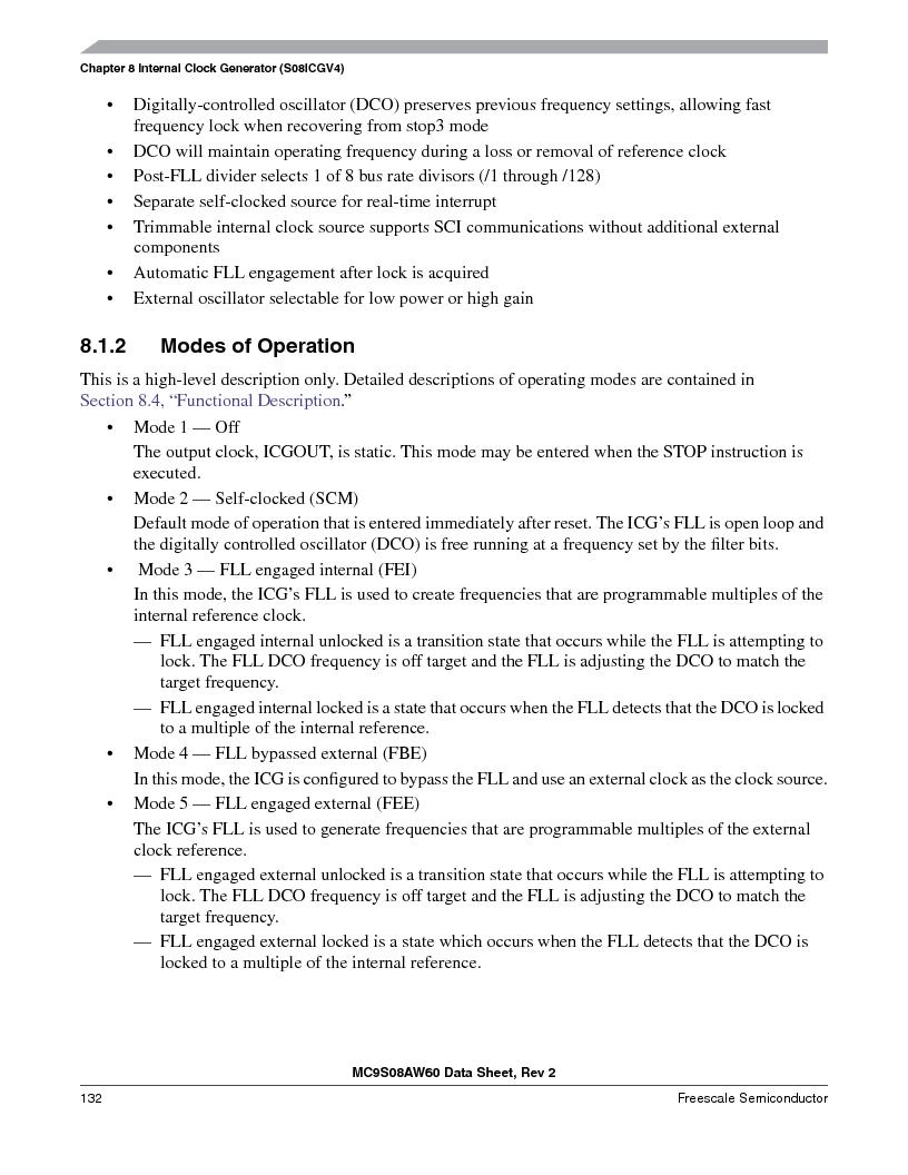 MC9S08AW16MFDE ,Freescale Semiconductor厂商,IC MCU 8BIT 16K FLASH 48-QFN, MC9S08AW16MFDE datasheet预览  第132页