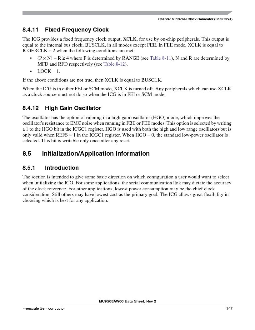 MC9S08AW16MFDE ,Freescale Semiconductor厂商,IC MCU 8BIT 16K FLASH 48-QFN, MC9S08AW16MFDE datasheet预览  第147页