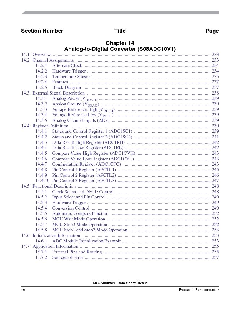 MC9S08AW16MFDE ,Freescale Semiconductor厂商,IC MCU 8BIT 16K FLASH 48-QFN, MC9S08AW16MFDE datasheet预览  第16页