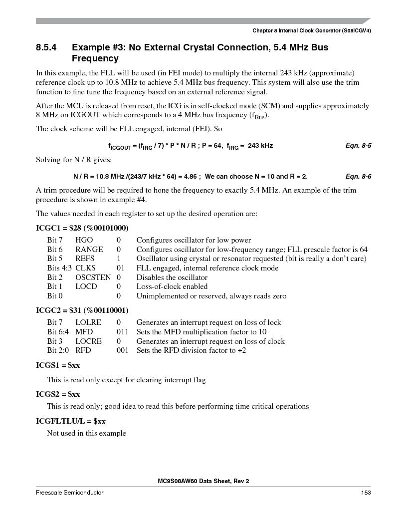 MC9S08AW16MFDE ,Freescale Semiconductor厂商,IC MCU 8BIT 16K FLASH 48-QFN, MC9S08AW16MFDE datasheet预览  第153页