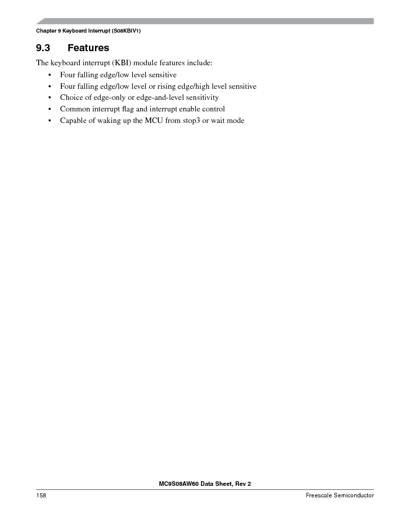 MC9S08AW16MFDE ,Freescale Semiconductor厂商,IC MCU 8BIT 16K FLASH 48-QFN, MC9S08AW16MFDE datasheet预览  第158页