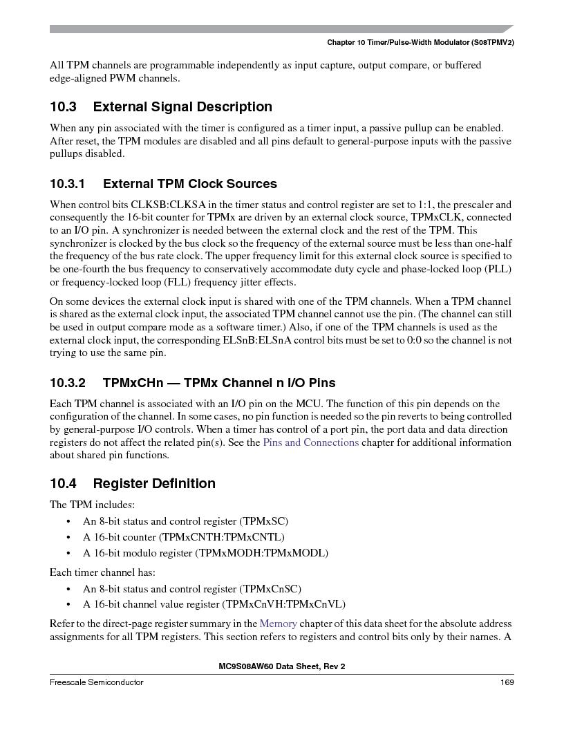 MC9S08AW16MFDE ,Freescale Semiconductor厂商,IC MCU 8BIT 16K FLASH 48-QFN, MC9S08AW16MFDE datasheet预览  第169页