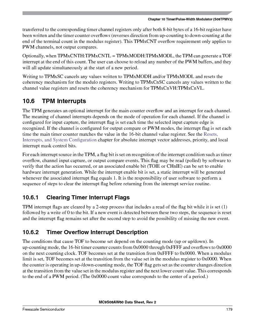 MC9S08AW16MFDE ,Freescale Semiconductor厂商,IC MCU 8BIT 16K FLASH 48-QFN, MC9S08AW16MFDE datasheet预览  第179页