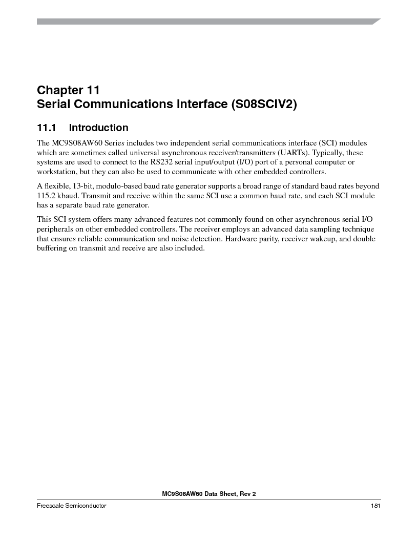 MC9S08AW16MFDE ,Freescale Semiconductor厂商,IC MCU 8BIT 16K FLASH 48-QFN, MC9S08AW16MFDE datasheet预览  第181页
