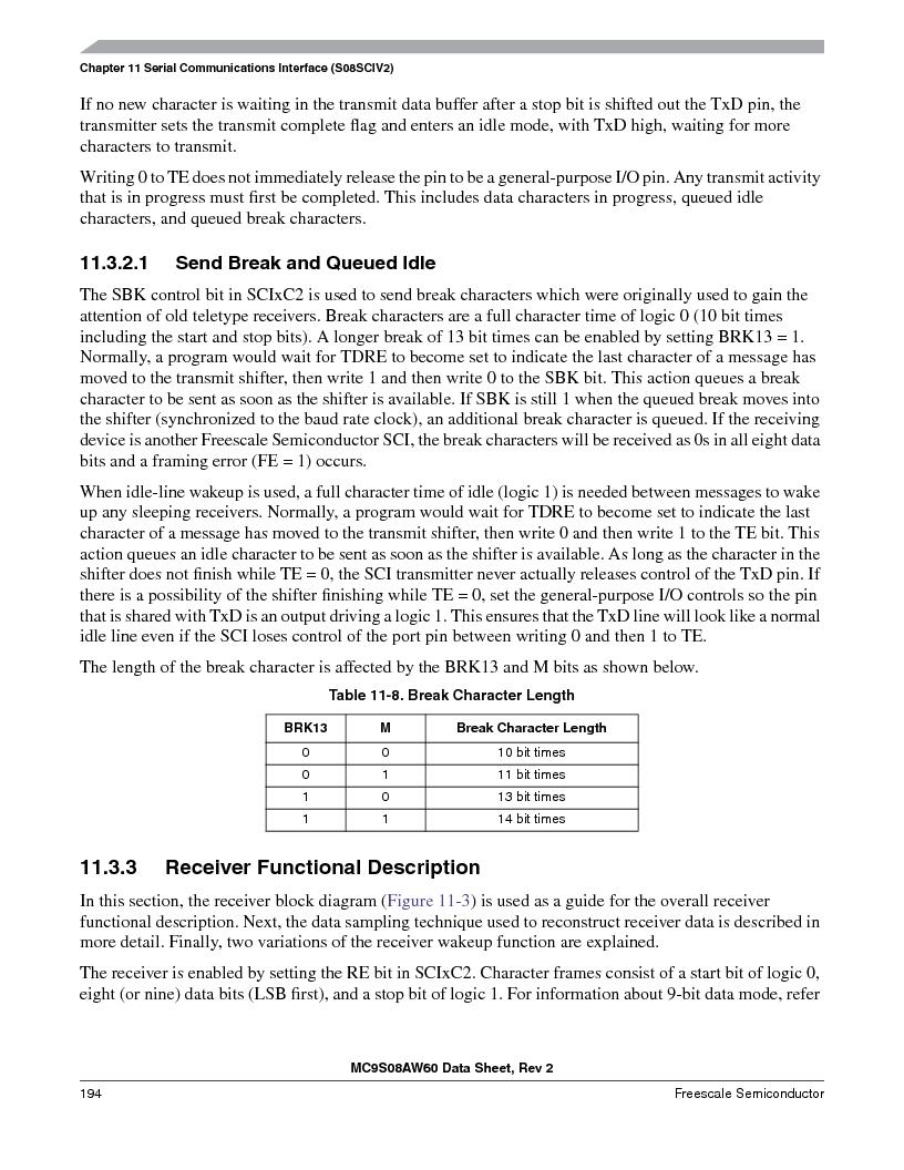 MC9S08AW16MFDE ,Freescale Semiconductor厂商,IC MCU 8BIT 16K FLASH 48-QFN, MC9S08AW16MFDE datasheet预览  第194页
