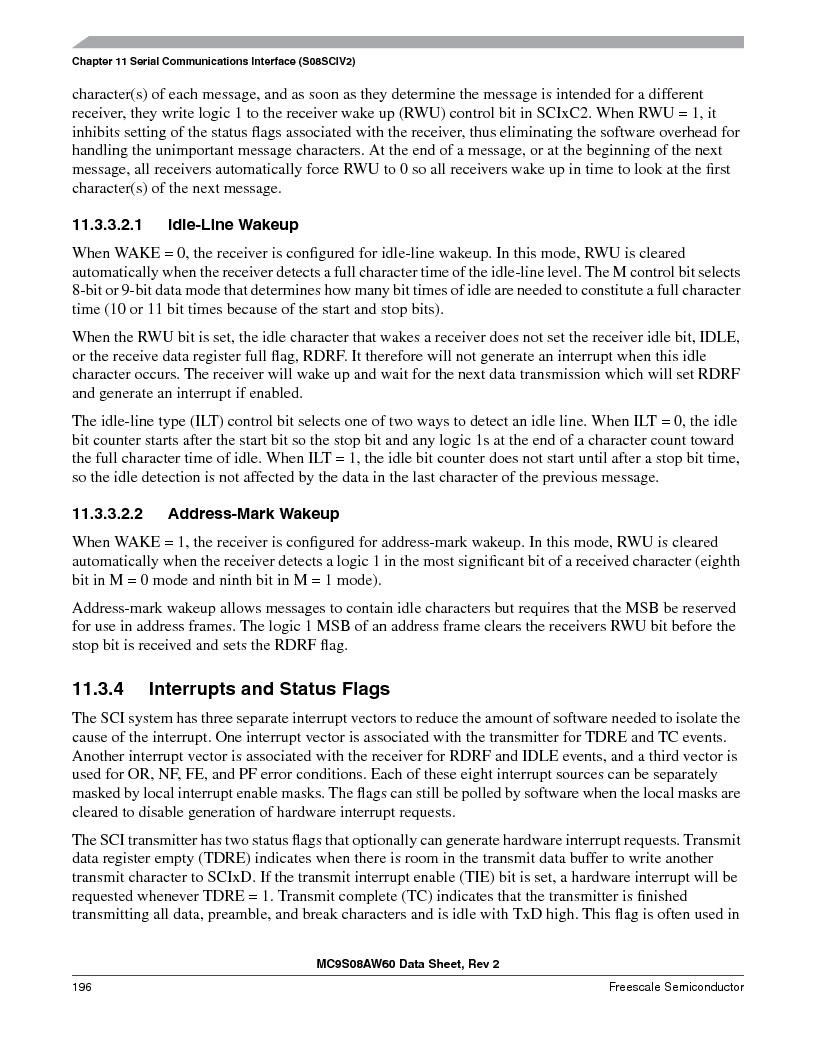MC9S08AW16MFDE ,Freescale Semiconductor厂商,IC MCU 8BIT 16K FLASH 48-QFN, MC9S08AW16MFDE datasheet预览  第196页