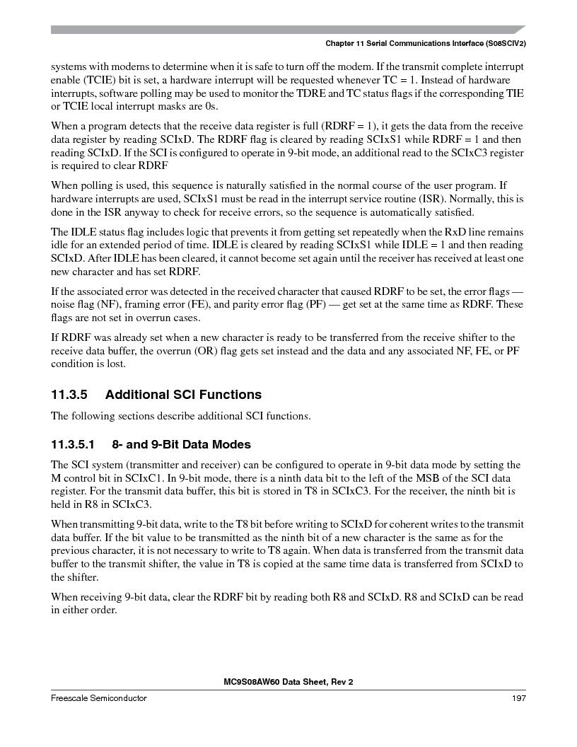 MC9S08AW16MFDE ,Freescale Semiconductor厂商,IC MCU 8BIT 16K FLASH 48-QFN, MC9S08AW16MFDE datasheet预览  第197页