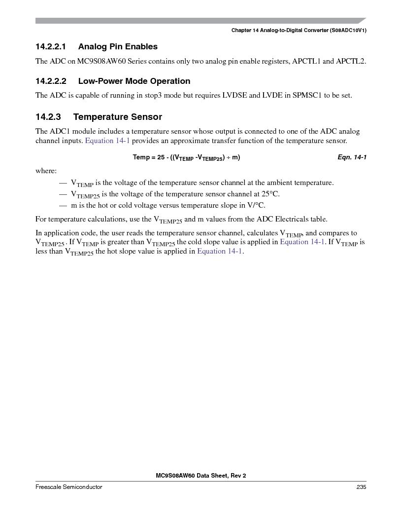 MC9S08AW16MFDE ,Freescale Semiconductor厂商,IC MCU 8BIT 16K FLASH 48-QFN, MC9S08AW16MFDE datasheet预览  第235页
