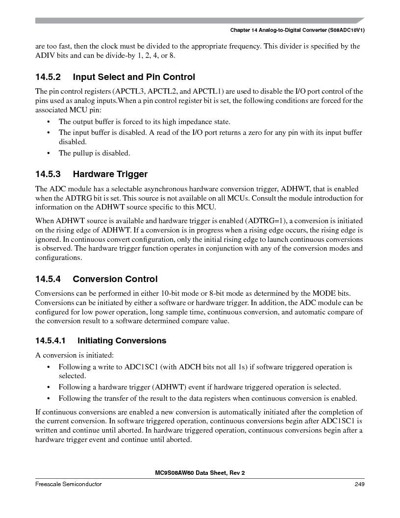 MC9S08AW16MFDE ,Freescale Semiconductor厂商,IC MCU 8BIT 16K FLASH 48-QFN, MC9S08AW16MFDE datasheet预览  第249页