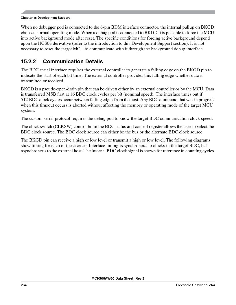 MC9S08AW16MFDE ,Freescale Semiconductor厂商,IC MCU 8BIT 16K FLASH 48-QFN, MC9S08AW16MFDE datasheet预览  第264页