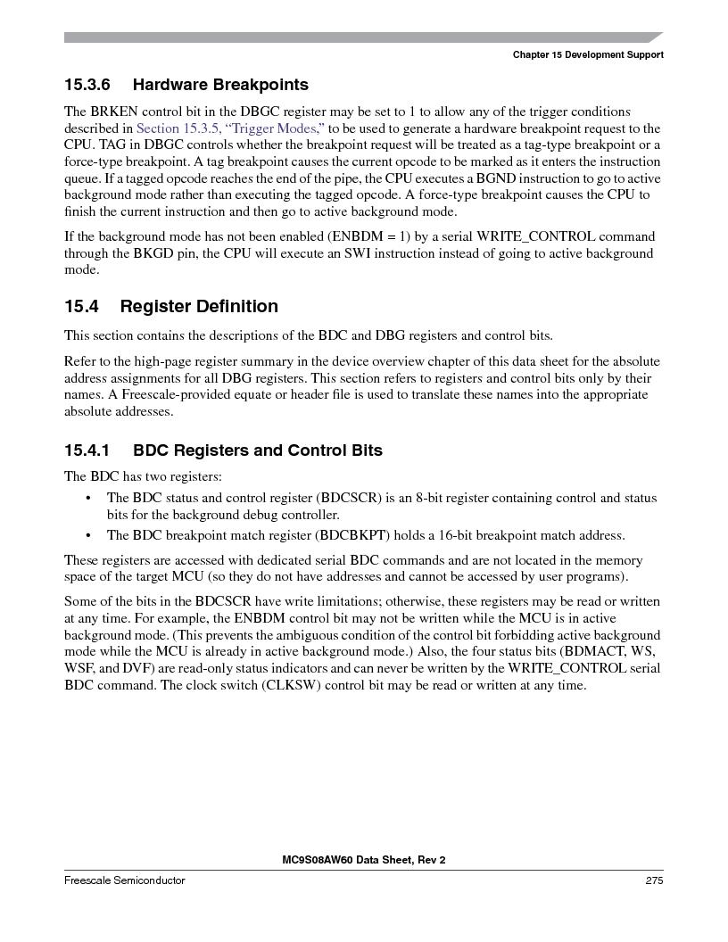MC9S08AW16MFDE ,Freescale Semiconductor厂商,IC MCU 8BIT 16K FLASH 48-QFN, MC9S08AW16MFDE datasheet预览  第275页