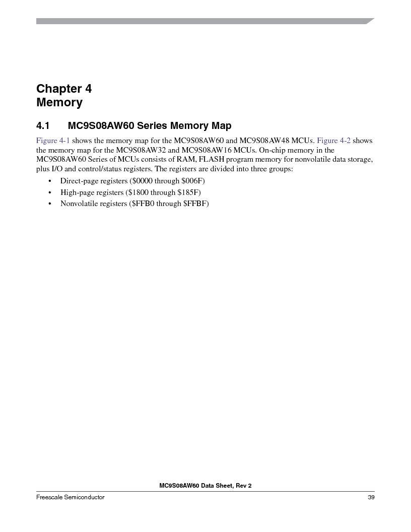 MC9S08AW16MFDE ,Freescale Semiconductor厂商,IC MCU 8BIT 16K FLASH 48-QFN, MC9S08AW16MFDE datasheet预览  第39页