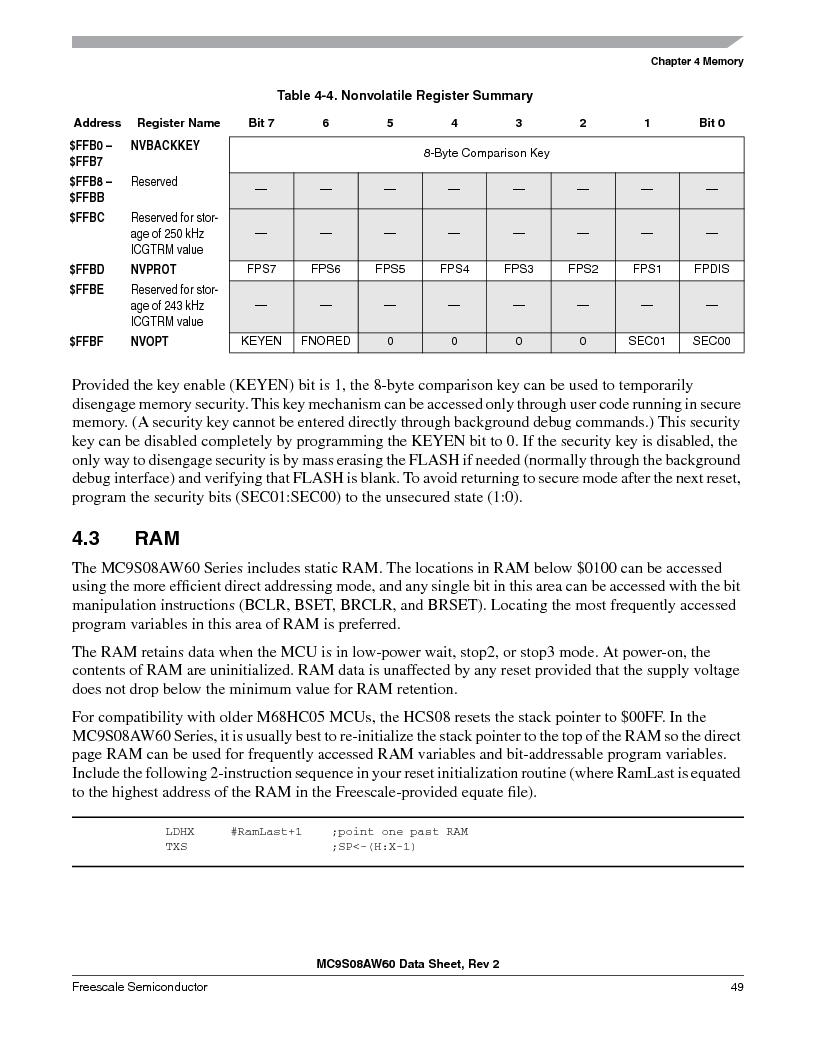 MC9S08AW16MFDE ,Freescale Semiconductor厂商,IC MCU 8BIT 16K FLASH 48-QFN, MC9S08AW16MFDE datasheet预览  第49页