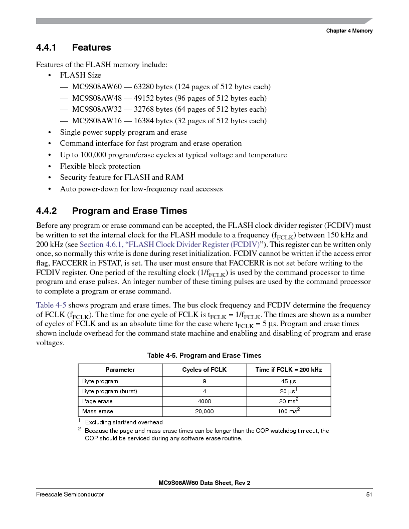 MC9S08AW16MFDE ,Freescale Semiconductor厂商,IC MCU 8BIT 16K FLASH 48-QFN, MC9S08AW16MFDE datasheet预览  第51页