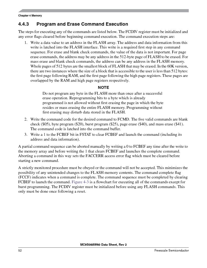 MC9S08AW16MFDE ,Freescale Semiconductor厂商,IC MCU 8BIT 16K FLASH 48-QFN, MC9S08AW16MFDE datasheet预览  第52页