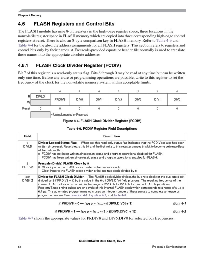 MC9S08AW16MFDE ,Freescale Semiconductor厂商,IC MCU 8BIT 16K FLASH 48-QFN, MC9S08AW16MFDE datasheet预览  第58页