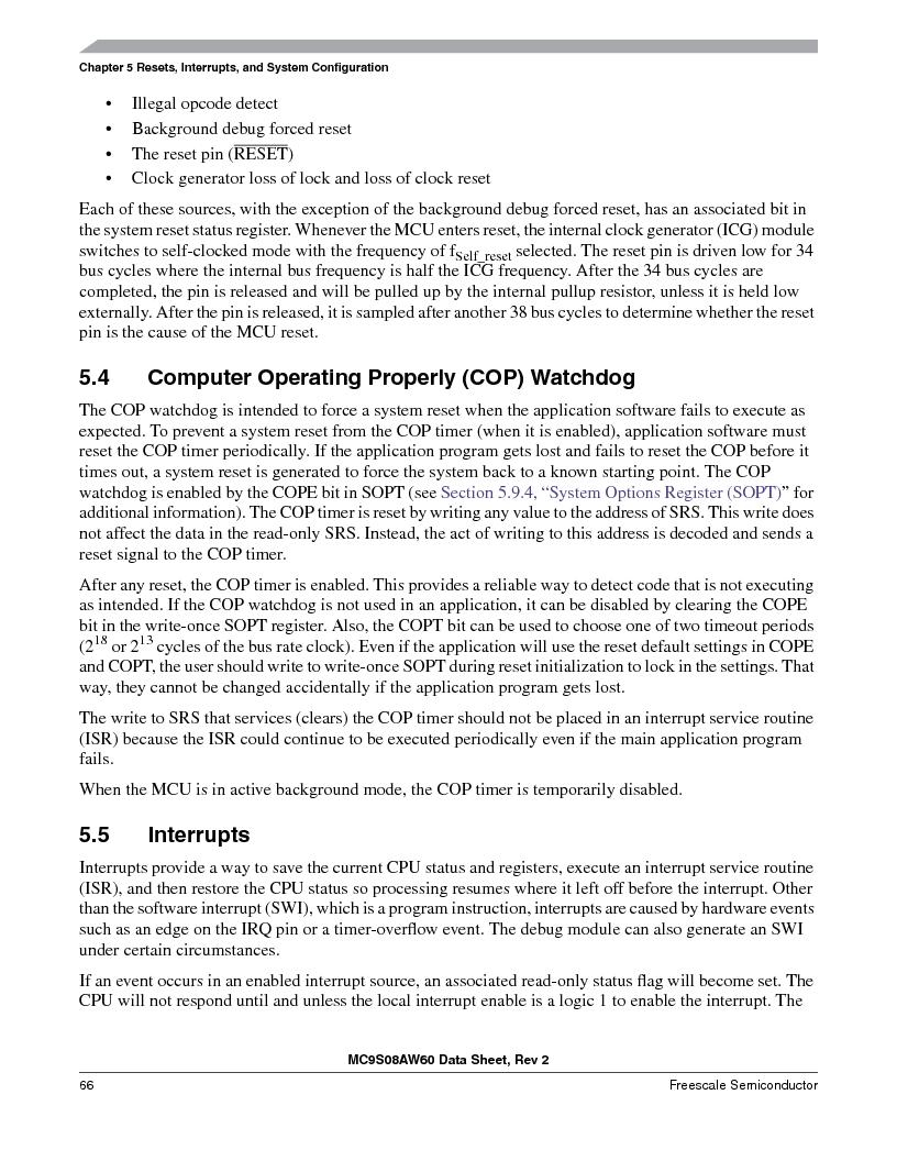 MC9S08AW16MFDE ,Freescale Semiconductor厂商,IC MCU 8BIT 16K FLASH 48-QFN, MC9S08AW16MFDE datasheet预览  第66页