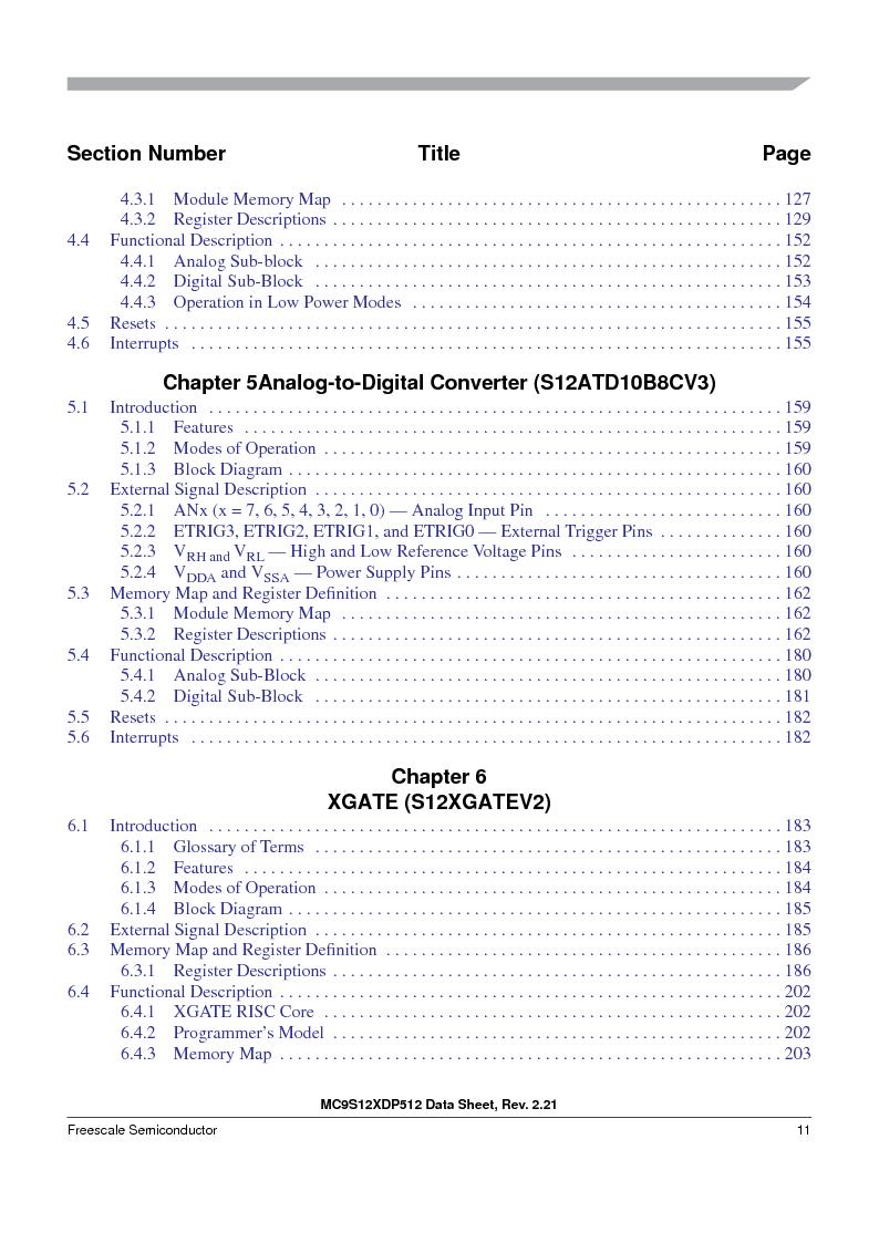MC9S12XD256MAL ,Freescale Semiconductor厂商,IC MCU 256K FLASH 112-LQFP, MC9S12XD256MAL datasheet预览  第11页