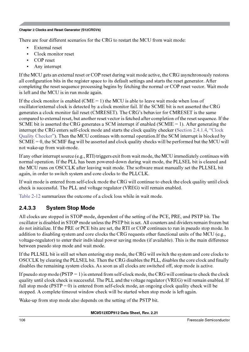 MC9S12XD256MAL ,Freescale Semiconductor厂商,IC MCU 256K FLASH 112-LQFP, MC9S12XD256MAL datasheet预览  第106页