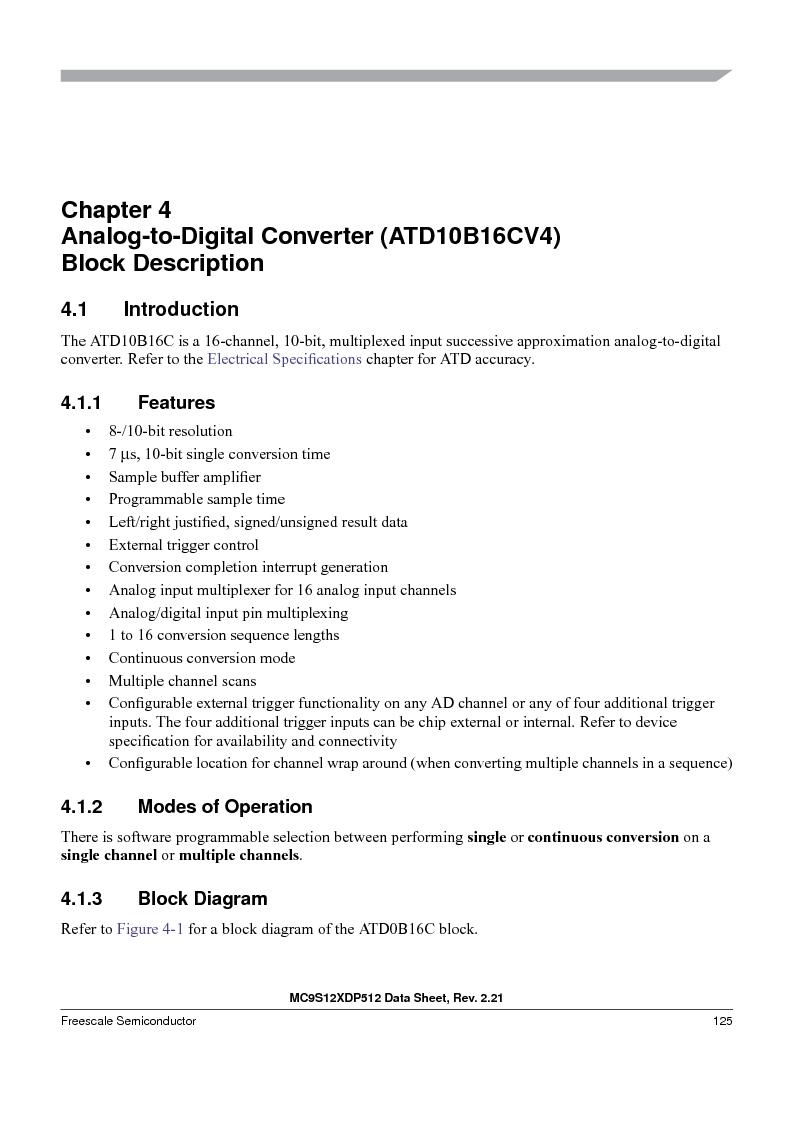 MC9S12XD256MAL ,Freescale Semiconductor厂商,IC MCU 256K FLASH 112-LQFP, MC9S12XD256MAL datasheet预览  第125页