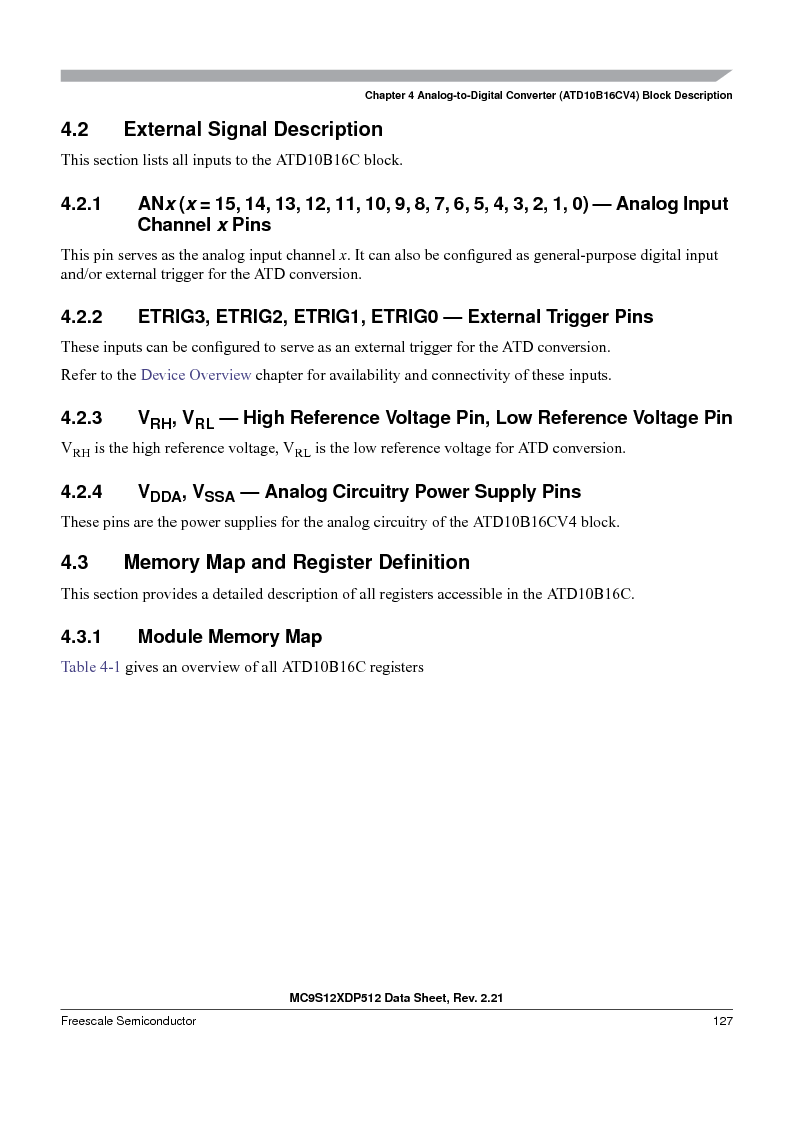 MC9S12XD256MAL ,Freescale Semiconductor厂商,IC MCU 256K FLASH 112-LQFP, MC9S12XD256MAL datasheet预览  第127页