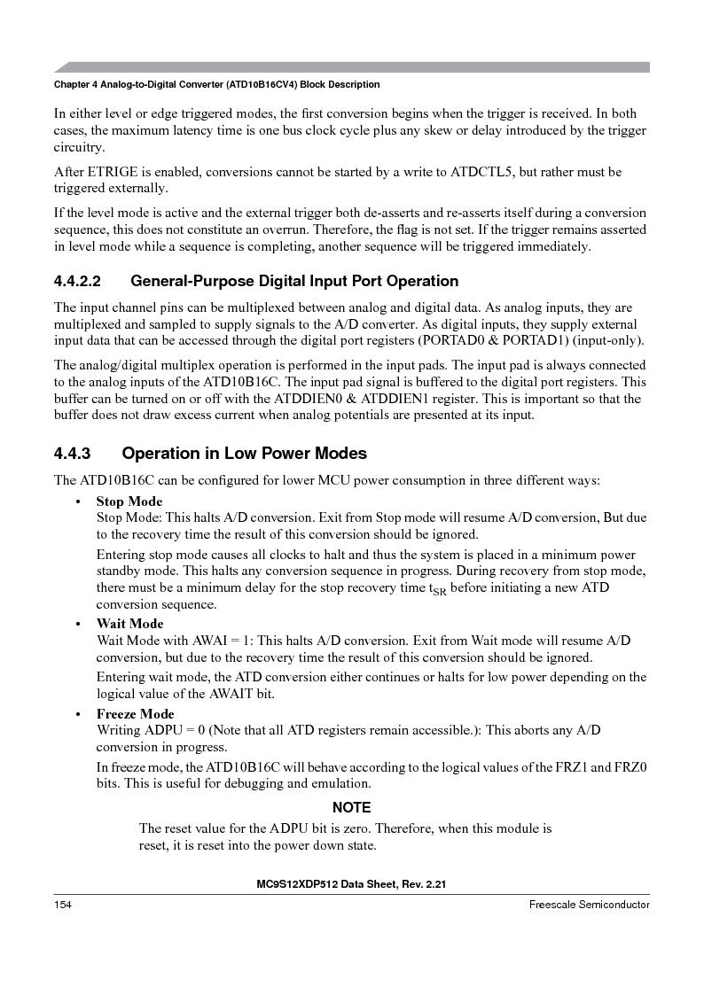 MC9S12XD256MAL ,Freescale Semiconductor厂商,IC MCU 256K FLASH 112-LQFP, MC9S12XD256MAL datasheet预览  第154页