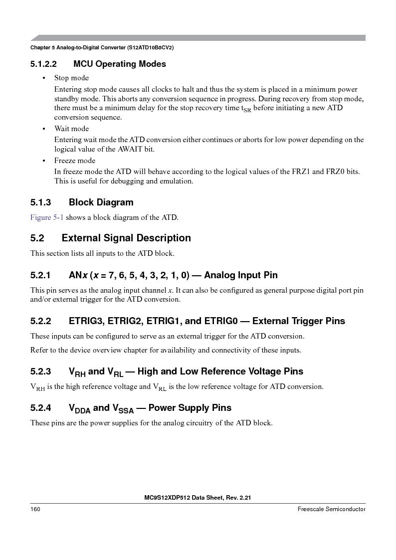 MC9S12XD256MAL ,Freescale Semiconductor厂商,IC MCU 256K FLASH 112-LQFP, MC9S12XD256MAL datasheet预览  第160页