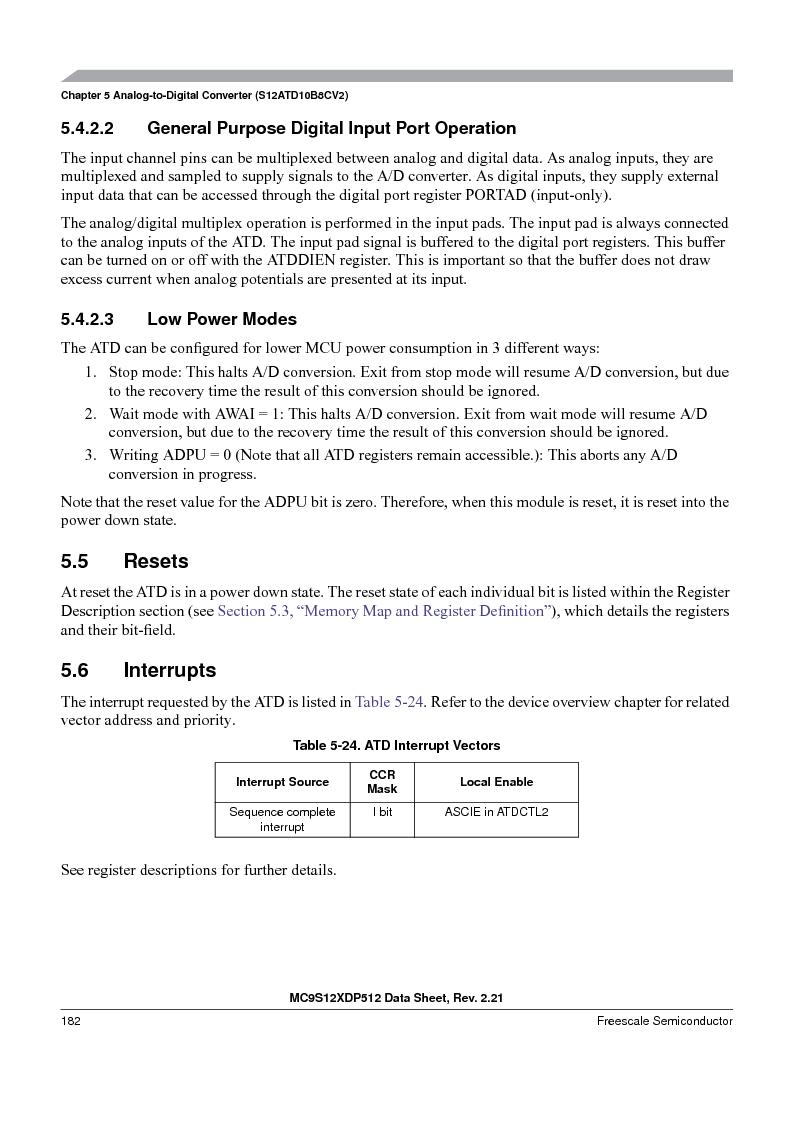 MC9S12XD256MAL ,Freescale Semiconductor厂商,IC MCU 256K FLASH 112-LQFP, MC9S12XD256MAL datasheet预览  第182页