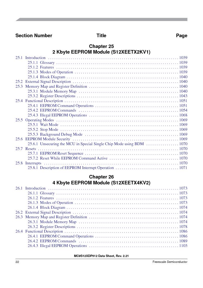 MC9S12XD256MAL ,Freescale Semiconductor厂商,IC MCU 256K FLASH 112-LQFP, MC9S12XD256MAL datasheet预览  第22页